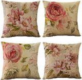 WOMHOPE Set of 4 Vintage Flower Throw Pillow Covers Pillow Cases Cushion Cases Burlap Toss 18 x 18 Inch for Living Room,Couch and Bed (Purple Pink (Set of 4))