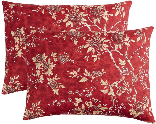Wake In Cloud - Pack of 2 Pillow Cases, Red Vintage Floral Flowers Pattern Printed Soft Microfiber Pillowcases (Standard Size, 20x26 Inches)