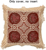 Simhomsen Set of 2 Decorative Lace Throw Pillow Case Shams Cushion Cover, Square 18 × 18 Inches, Vintage Look, Burgundy, only The Cushion Cover, Without Pillow Insert