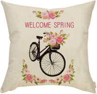 Fahrendom Spring Farmhouse Home Décor Vintage Floral Bicycle Rose Bike Sign Decorative Throw Pillow Cover Welcome Spring Decoration Cotton Linen Cushion Case Sofa Couch 18 x 18 in