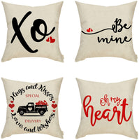 Fahrendom Set of 4 Valentines Farmhouse Home Décor Be Mine, XO, Oh My Heart, Vintage Truck Sign Decorative Throw Pillow Cover Hugs and Kisses Decoration Cotton Linen Cushion Case Sofa Couch 18 x 18 In
