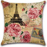 ZeoJard 4 Pack Vintage Paris Eiffel Tower Throw Pillow Covers Flower Floral Decorative Pillow Case Square Cotton Linen Pillowcases for Couch Sofa Bed Home Decor 18 X 18 Inches (Tower)