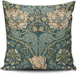 KAQIU Home Decoration Pillowcase Cover Teal Vintage Tulips by William Morris Custom Pillow case Cushion Fashion Chic Double Sided Printed Design Square Size 20x20 Inch