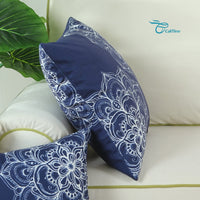 CaliTime Pack of 2 Cozy Fleece Throw Pillow Cases Covers for Couch Bed Sofa Vintage Dahlia Floral Both Sides 18 X 18 Inches Navy Blue