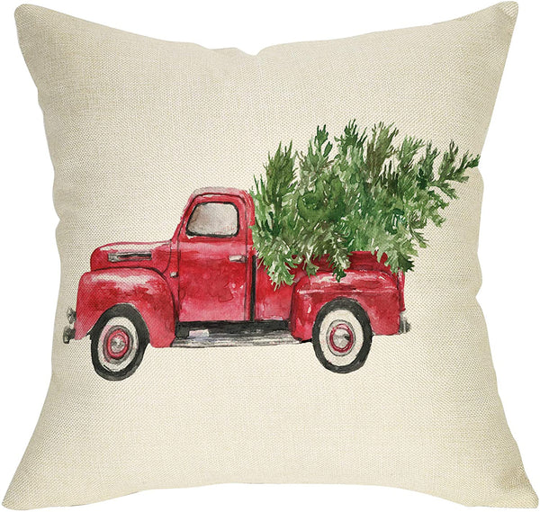 "Softxpp Christmas Farmhouse Decorative Throw Pillow Cover Vintage Red Truck Winter Holiday Decoration Merry Xmas Tree Farm Sign Home Decor Cushion Case for Sofa Couch 18"" x 18"" Inch Cotton Linen"