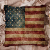"Roses Garden Decorative Throw Pillow Cover Vintage Flag of American Stars and Stripes Flag Pillow Case Square Cushion Cover Super Soft Brushed Fabric Pillowcase for Home Couch Sofa Bed, 16"" x 16"""
