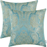 CaliTime Pack of 2 Supersoft Throw Pillow Covers Cases for Couch Sofa Home Decor Vintage Damask Floral 18 X 18 Inches Teal