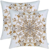 CaliTime Pack of 2 Cozy Fleece Throw Pillow Cases Covers for Couch Bed Sofa Vintage Mandala Snowflake Floral 18 X 18 Inches Yellow Gold