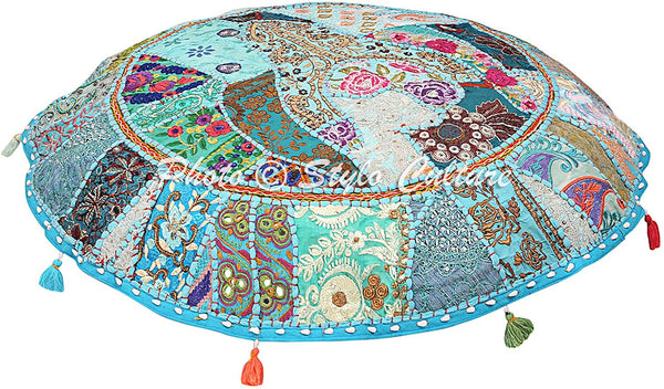 "Stylo Culture Round Cotton Floor Cushion Cover Vintage Embroidered Patchwork Turquoise 32"" Floor Pillow Cover Seating for Adults"
