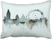Tarolo Decorative Vintage Watercolor City Silhouette Throw Pillow Covers Decorative Accent Pillows Pillow Cover Size 16x16 inches(40x40cm) Two Sided