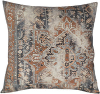 "EURASIA DECOR DecorHouzz Antique Pillow case Old Persian Rug Vintage Patchwork Inspired Print Pillowcase for Sofa Couch Living Room Bedroom Rustic Cotton Linen Decorative Home (Orange, 20""x20"" (1pc))"