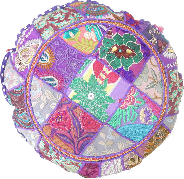 iinfinize - 2 PC Embroidered Patchwork Floor Pillow Vintage Cushion Cover Round Ottoman Cover Footstool Pouf Decorative Throw Tassels Lace Bohemian Hippie Living Room Pouf Cover Sofa Sham Throw Decor
