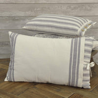 "Piper Classics Market Place Gray Ticking Stripe Pillow Cover w/Grain Sack Cover, 16"" x 26"", Farmhouse Style Throw Pillow"