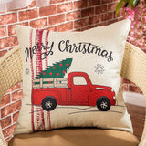 "Fjfz Merry Christmas Red Vintage Truck Snowflakes Winter Holiday Decoration Farmhouse Decor Gift Cotton Linen Home Decorative Throw Pillow Case Cushion Cover for Sofa Couch, 18"" x 18"""