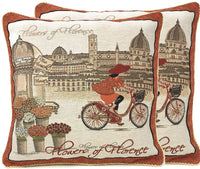 Tache Decorative Accent Cushion Cover - Flowers of Florence- 18 Inch Orange Brown Red Burgundy Beige Square Vintage French Girl on a Bicycle Throw Pillow Covers - 2 Piece