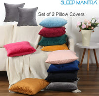 Sleep Mantra Throw Pillow-Covers 18x18 Tan Velvet - 2 Piece Solid Plush Square Cushion Cover Set for Home Decor, Comfortable Fade Resistant Bedroom Sofa Cushion Cases with Hidden Zipper