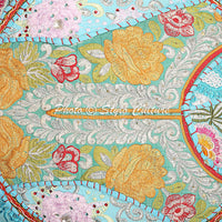 "Stylo Culture 22"" Cotton Throw Floor Pillow Cushion Cover Vintage Embroidered Patchwork Turquoise Round Pouf Cover"