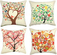 YOUR SMILE Set of 4 Cotton Linen Sofa Home Decor Design Throw Pillow Case Cushion Covers Square 18x18 Inch (Tree)