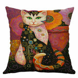 "18"" Square Vintage Cats Pillow Case Cover Sofa Waist Cushion Covers Home Decor"