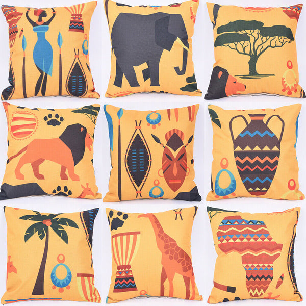 "18"" African style Pattern Cotton Linen Cushion Cover Pillow Case Home Decor"