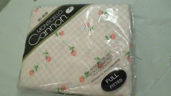 Sealed Vintage Monticello Cannon Full Fitted Sheet, Pink Floral & Check