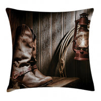 Western Throw Pillow Case Vintage Cowboys Bench Square Cushion Cover 16 Inches