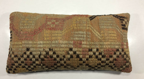 "12""x24"" Kilim Pillow Cover Hand Woven Vintage Decorative Wool Lumbar Cushion 925"