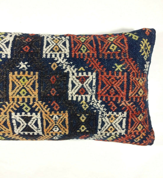 12x24 Kilim Lumbar Pillow Cover Handmade Vintage Oblong Embroidered Cushion 337