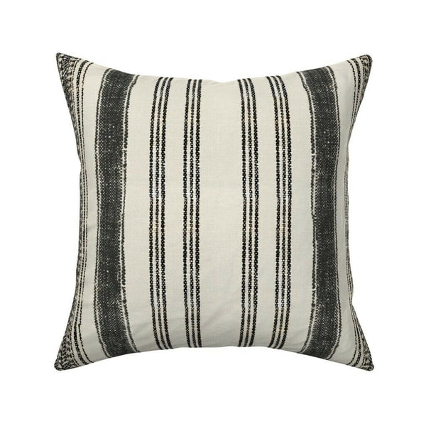 Vintage Stripe Boho Cream Black Throw Pillow Cover w Optional Insert by Roostery