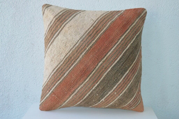 "Vintage Kilim Rug Pillow Cover Brown Decor Pillow 16""X16"" Cushion Throw Pillows"