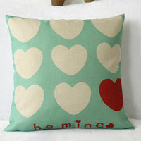 Be Mine Heart Cotton Linen Home Decor Throw Pillow Case Sofa Waist Cushion Cover
