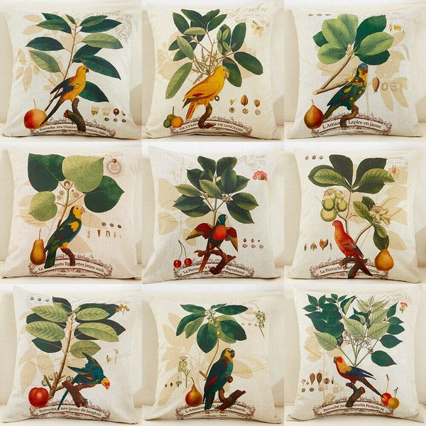 "18"" Parrot Pattern Cotton Linen Cushion Cover Pillow Case Sofa Waist Home Decor"