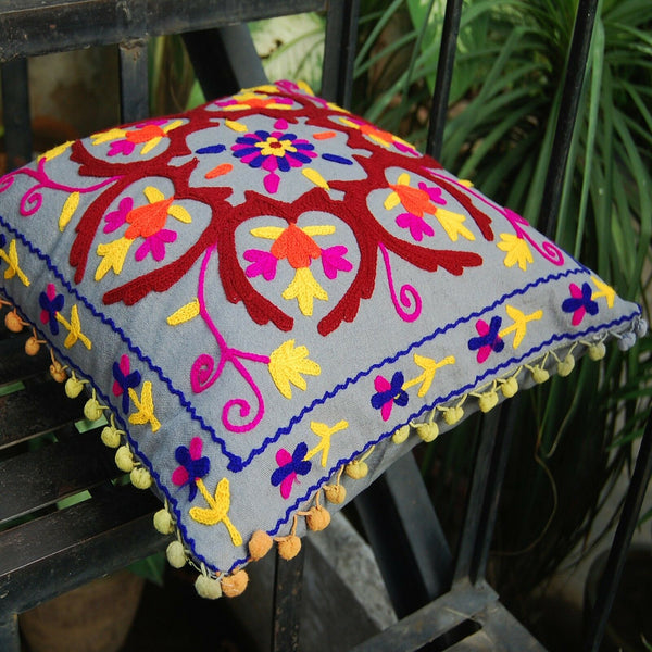 16'' Hand Embroidered Vintage Suzani Cushion Cover Indian Decorative Pillow Case