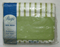 Vintage NOS Pacific Truth Muslin Balanced FLAT SHEET Green Striped 81x108