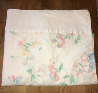 "Vintage Twin Floral Flat Sheet Satin Trim 97"" x 62"""