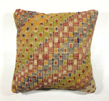 16x16 Kilim Pillow Cover Turkish Vintage Nomad Wool Handmade Square Cushion 158
