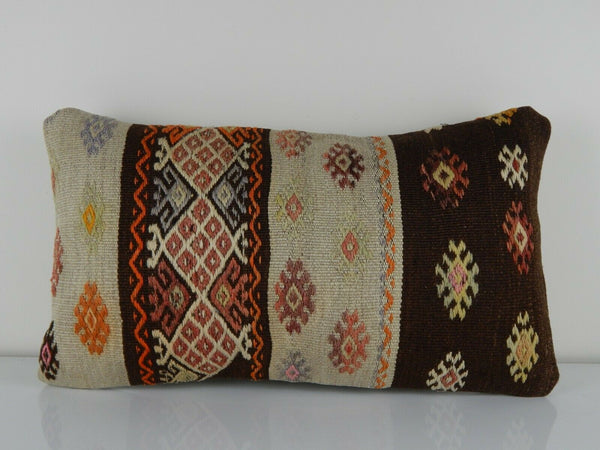 12'' x 20'' Vintage Tribal Kilim Lumbar Pillow Cover, Handmade Wool Cushion