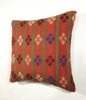 16x16 Kilim Pillow Cover Turkish Vintage Home Deco Handmade Square Cushion 159