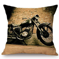 Vintage Oil Painting Motorcycle Cushion Cover Cotton Linen Motorbike Club Pillow