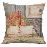 "18"" Vintage Flowers Linen Cotton Pillowcase Throw Cushion Cover Home Decor"