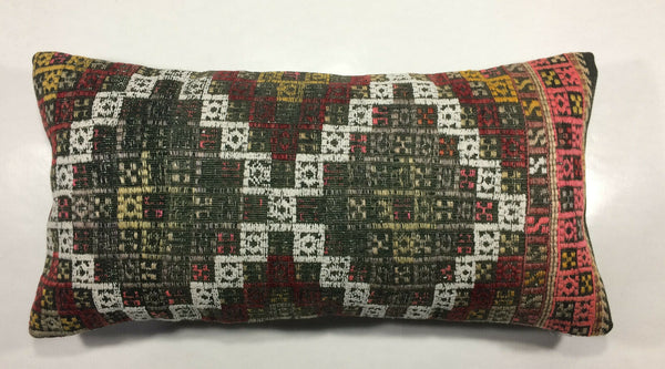 "12""x24"" Kilim Pillow Cover Hand Woven Vintage Embroidered Lumbar Cushion 924"