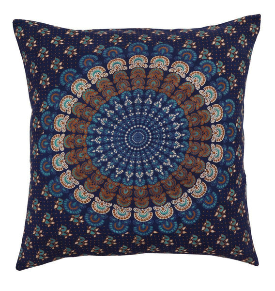 "16"" Cotton Vintage Traditional Printed Throw Cushion/Pillow Cover Dark Blue"