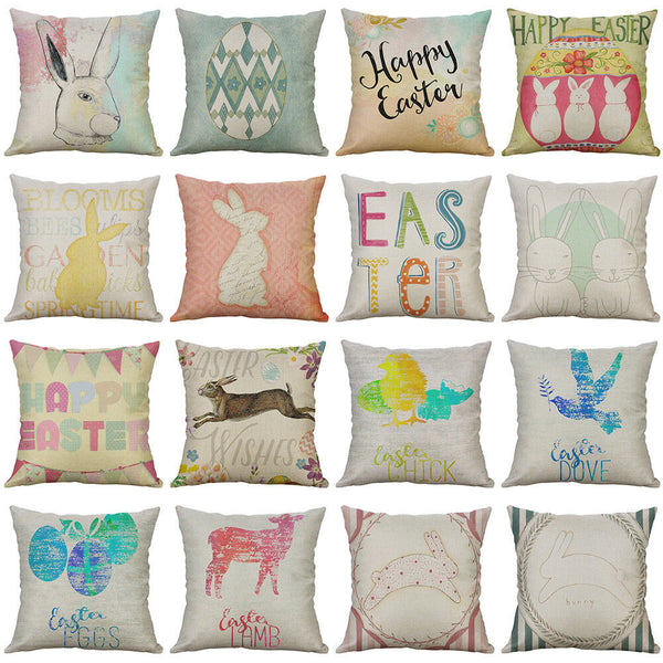 "18"" Easter Pattern Cotton Linen Cushion Cover Pillow Case Home Decor"