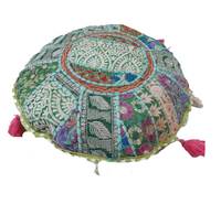 "16"" Round Vintage Floor Pillow Khambadiya Patchwork Cushion Cover Pouf Sofa Sham"