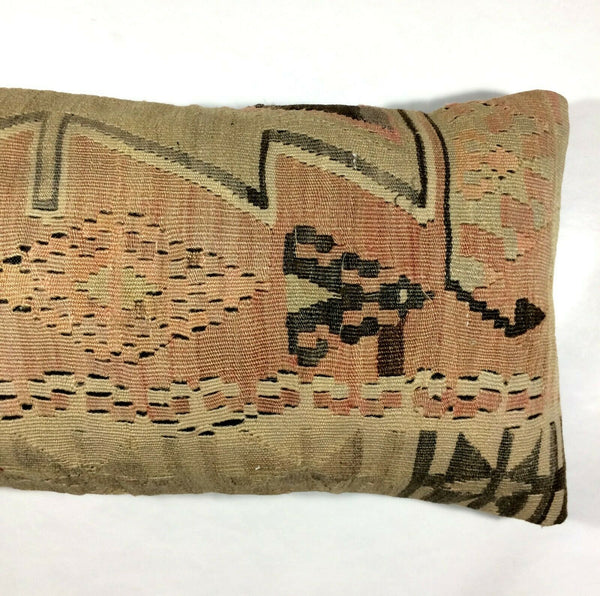 12x24 Lumbar Pillow Cover Kilim Oushak Handmade Vintage Wool Cushion Turkish 343