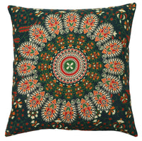 "16"" Cotton Vintage Traditional Printed Throw Cushion/Pillow Cover Dark Green"