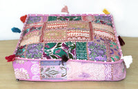 "16"" Indian Vintage Handmade Floor Decorative Cushion Cover Square Pillow Covers"