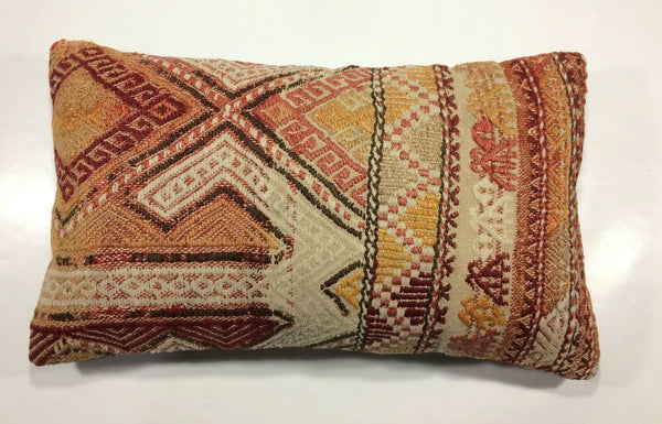"12""x20"" Kilim Pillow Cover Vintage Wool Hand Woven Turkish Lumbar Cushion 879"