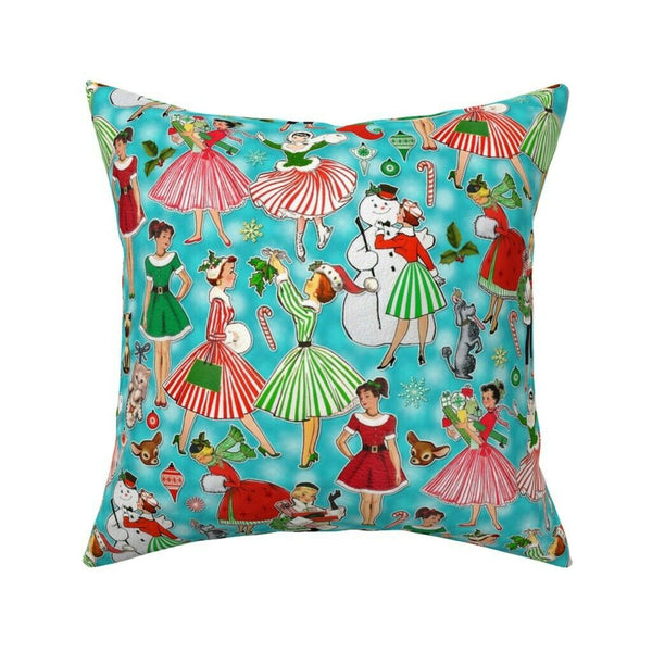 Pinup Holiday 1950S Vintage Throw Pillow Cover w Optional Insert by Roostery