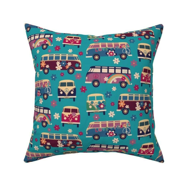 Vintage Camper Van Bohemian Throw Pillow Cover w Optional Insert by Roostery